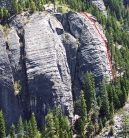 Lover's Leap, Lower Buttress - The Farce 5.5 - Lake Tahoe, California, USA. Click to Enlarge