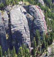 Lover's Leap, Lower Buttress - The Groove 5.8 - Lake Tahoe, California, USA. Click to Enlarge