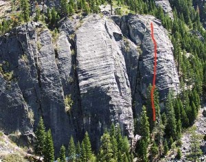 Lover's Leap, Lower Buttress - Sinbad-Herbert 5.10b - Lake Tahoe, California, USA. Click to Enlarge