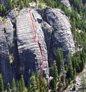 Lover's Leap, Lower Buttress - Surrealistic Pillar Direct 5.10b - Lake Tahoe, California, USA. Click to Enlarge