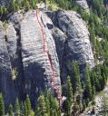 Lover's Leap, Lower Buttress - Surrealistic Pillar 5.7 - Lake Tahoe, California, USA. Click for details.