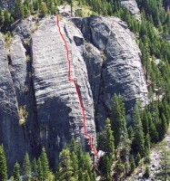 Lover's Leap, Lower Buttress - Surrealistic Pillar 5.7 - Lake Tahoe, California, USA. Click to Enlarge