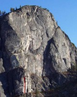 Lover's Leap, Main Wall - Tombstone Terror 5.10c - Lake Tahoe, California, USA. Click to Enlarge