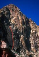 Black Velvet Canyon - Yellow Brick Road 5.10b - Red Rocks, Nevada USA. Click to Enlarge