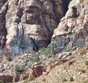 Brass Wall - Sniveler 5.6 R - Red Rocks, Nevada USA. Click for details.
