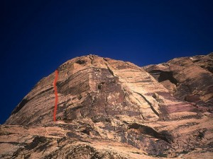 Eagle Wall - Eagle Dance 5.10c A0 - Red Rocks, Nevada USA. Click to Enlarge