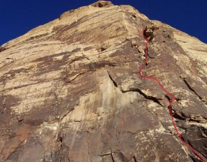 Eagle Wall - Ringtail 5.10d - Red Rocks, Nevada USA. Click to Enlarge