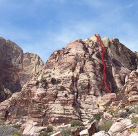 Jackrabbit Buttress, Northeast Face - Aquarium 5.9 R - Red Rocks, Nevada USA. Click to Enlarge