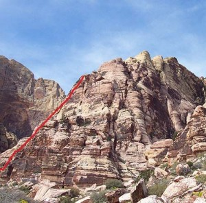 Jackrabbit Buttress, South Face - Geronimo 5.6 - Red Rocks, Nevada USA. Click to Enlarge
