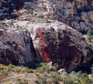 Ragged Edges Wall - Bodiddly 5.10c R - Red Rocks, Nevada USA. Click to Enlarge