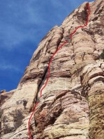 Rose Tower - Olive Oil 5.7 R - Red Rocks, Nevada USA. Click to Enlarge