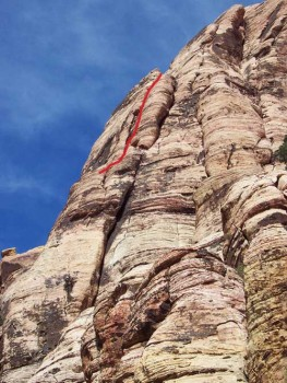 Rose Tower - One-Armed Bandit 5.7 R - Red Rocks, Nevada USA. Click to Enlarge