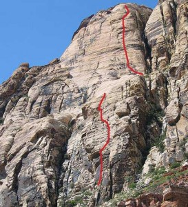 Solar Slab Wall - Horndogger Select to Sundog 5.10a - Red Rocks, Nevada USA. Click to Enlarge