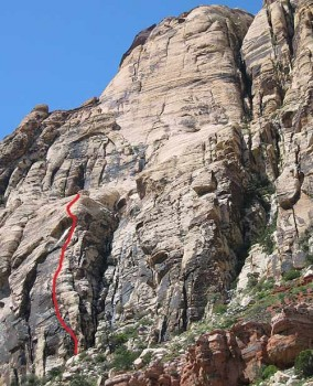 Solar Slab Wall - Johnny Vegas 5.6 R - Red Rocks, Nevada USA. Click to Enlarge