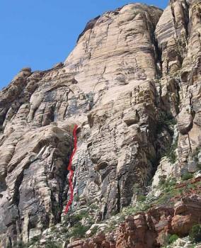 Solar Slab Wall - Solar Slab Gully 5.3 - Red Rocks, Nevada USA. Click to Enlarge