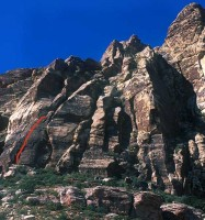 Whiskey Peak - Lazy Buttress 5.6 R - Red Rocks, Nevada USA. Click to Enlarge