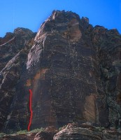 Whiskey Peak - Mazatlan 5.10d R - Red Rocks, Nevada USA. Click to Enlarge