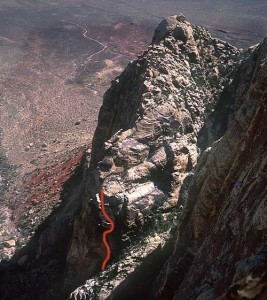Whiskey Peak - Only the Good Die Young 5.11c - Red Rocks, Nevada USA. Click to Enlarge