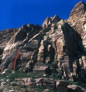 Whiskey Peak - Schaeffer's Delight 5.7 - Red Rocks, Nevada USA. Click to Enlarge