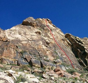 Windy Peak, East Face - Diet Delight 5.9 - Red Rocks, Nevada USA. Click to Enlarge