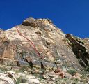 Windy Peak, East Face - Jackass Flats 5.6 - Red Rocks, Nevada USA. Click for details.