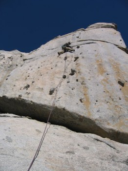 Phantom Spires, Middle Spire - Candyland 5.10c - Lake Tahoe, California, USA. Click to Enlarge