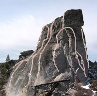 Phantom Spires, Middle Spire - Over Easy 5.7 - Lake Tahoe, California, USA. Click to Enlarge