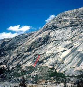 Circle A Wall - Joe Mamba 5.10a - Tuolumne Meadows, California USA. Click to Enlarge