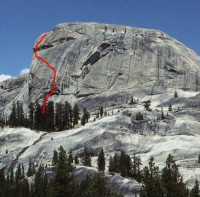Daff Dome - Blown Away 5.9 - Tuolumne Meadows, California USA. Click to Enlarge