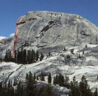 Daff Dome - Bombs Over Tokyo 5.10c - Tuolumne Meadows, California USA. Click to Enlarge
