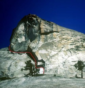 Daff Dome - Rise and Fall of the Albatross 5.13a/b - Tuolumne Meadows, California USA. Click to Enlarge