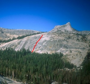 East Cottage Dome - Old Folks Boogie 5.10d R - Tuolumne Meadows, California USA. Click to Enlarge