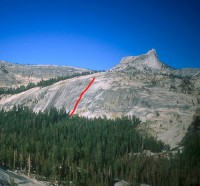 East Cottage Dome - Flintstone 5.10b R - Tuolumne Meadows, California USA. Click to Enlarge