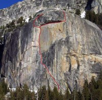 Drug Dome, Base - Acapulco Gold (P1) 5.10c R - Tuolumne Meadows, California USA. Click to Enlarge