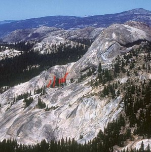 Daff Dome, South Flank - Great Circle 5.10a R - Tuolumne Meadows, California USA. Click to Enlarge