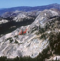 Daff Dome, South Flank - Guide Cracks 5.5 - Tuolumne Meadows, California USA. Click to Enlarge