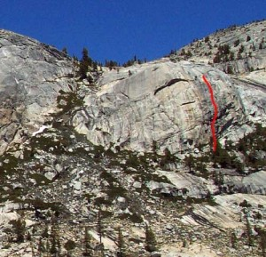 Harlequin Dome - Cyclone 5.10b - Tuolumne Meadows, California USA. Click to Enlarge