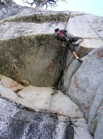 Harlequin Dome - Chinese Handcuffs 5.10d - Tuolumne Meadows, California USA. Click to Enlarge