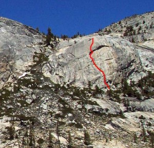 Harlequin Dome - Third World 5.11b - Tuolumne Meadows, California USA. Click to Enlarge