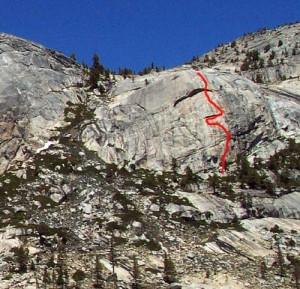 Harlequin Dome - No Rock Nazis 5.11c - Tuolumne Meadows, California USA. Click to Enlarge
