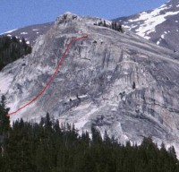 Lembert Dome - Direct Northwest Face 5.10c - Tuolumne Meadows, California USA. Click to Enlarge