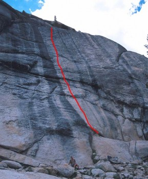 Low Profile Dome - Orange Man 5.10c - Tuolumne Meadows, California USA. Click to Enlarge