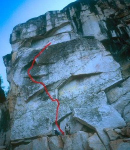 Mariuolumne Dome - Seconds to Darkness 5.8 - Tuolumne Meadows, California USA. Click to Enlarge