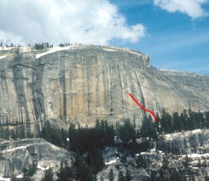 Medlicott Dome, Right - Lechlinski Flake 5.11a - Tuolumne Meadows, California USA. Click to Enlarge