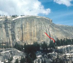 Medlicott Dome, Right - Lechlinski Flake 5.11a - Tuolumne Meadows, California USA. Click to Enlarge