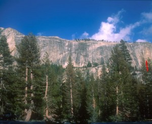Medlicott Dome, Right - Peace (P1) 5.10b R - Tuolumne Meadows, California USA. Click to Enlarge