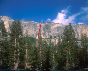 Medlicott Dome, Left - Piss Easy 5.8 R - Tuolumne Meadows, California USA. Click to Enlarge