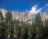 Medlicott Dome, Left - Shagadelic 5.8 - Tuolumne Meadows, California USA. Click to Enlarge