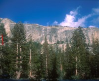 Medlicott Dome, Left - Super Chicken 5.9 - Tuolumne Meadows, California USA. Click to Enlarge