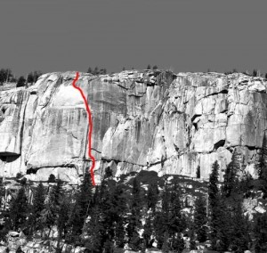 Phobos-Deimos Cliff - Blues Riff 5.11b - Tuolumne Meadows, California USA. Click to Enlarge
